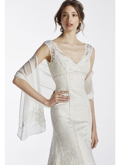 David's Bridal Ivory (Chiffon Beaded Wrap)