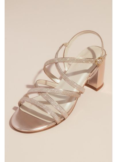 Metallic Block Heel Sandals with Glitter Straps - A radiant accent to any outfit, these metallic