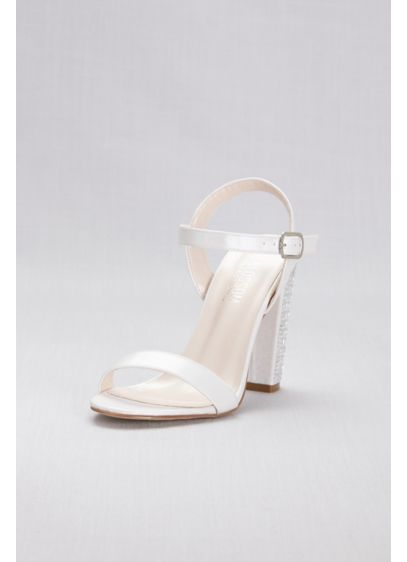 Crystal Patterned High Block Heel Sandals - With crystal embellishment on the high block heels,