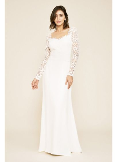 Hunter Tulle and Crepe Long Sleeve Wedding Dress - This dreamy embroidered wedding dress features an illusion