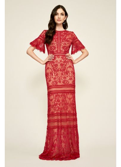 Long Mermaid/ Trumpet Elbow Sleeves Cocktail and Party Dress - Tadashi Shoji
