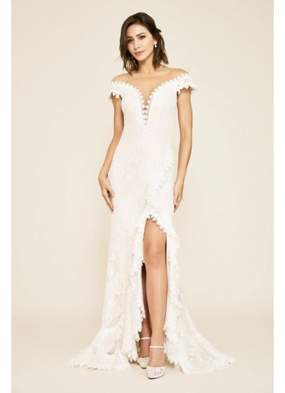 Joliet Ruffle Slit Lace Sheath Wedding Dress - A combination of refined and alluring, this romantic