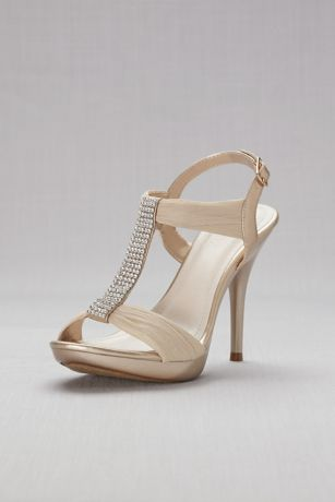 David's Bridal Beige;Grey Heeled Sandals (Crystal T-Strap High Heel Sandals)