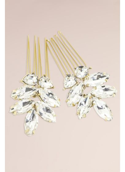 Hand-Wired Swarovski Crystal Leaf Motif Comb Set - Dot your hairdo with this dazzling hand-wired pair