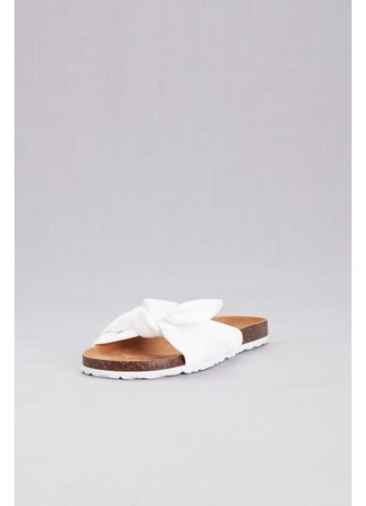 Footbed Flatform Slide Sandals with Bow - Comfy and oh-so cute, these footbed slides will