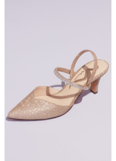 Glitter Crystal Strap Slingback D'Orsay Heels - With three rows of pave crystals to add