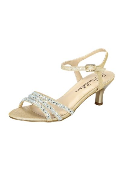 David's Bridal Beige (Low Heel Strappy Sandals with Crystals)
