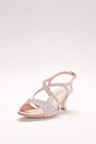 Blossom Beige;Black Heeled Sandals (Strappy Heels with Iridescent Gems)