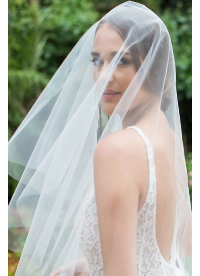 Silk Tulle Circle-Cut Drop Veil - This gorgeously simple circle-cut silk tulle veil is