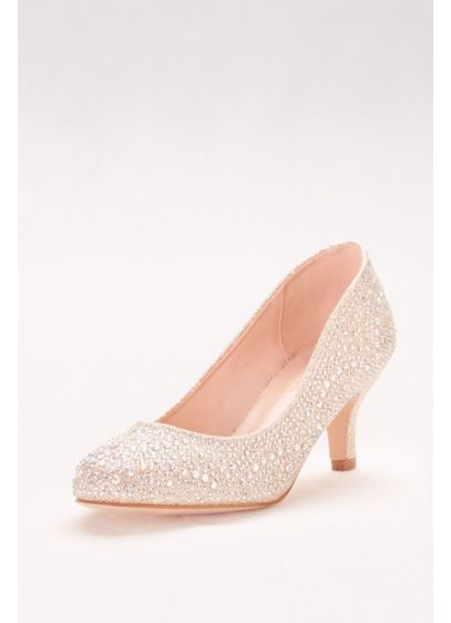 Blossom Beige (Rounded Low-Heel Pumps with Crystal Embellishment)