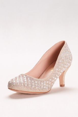 Beige;Black Closed Toe Shoes (Low-Heeled Pumps with Geometric Crystal Detail)