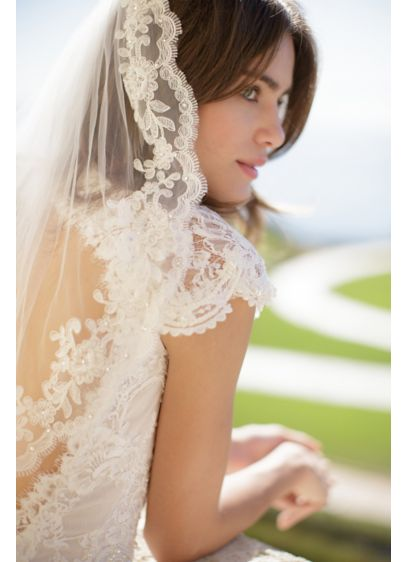 Floral Lace-Trimmed Tulle Veil with Comb - Wedding Accessories