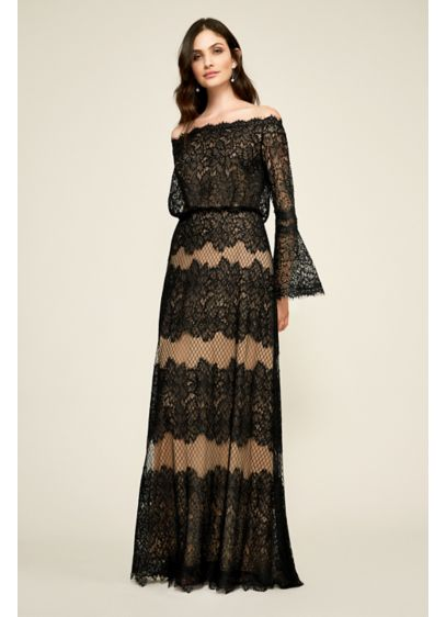 Long A-Line Long Sleeves Cocktail and Party Dress - Tadashi Shoji