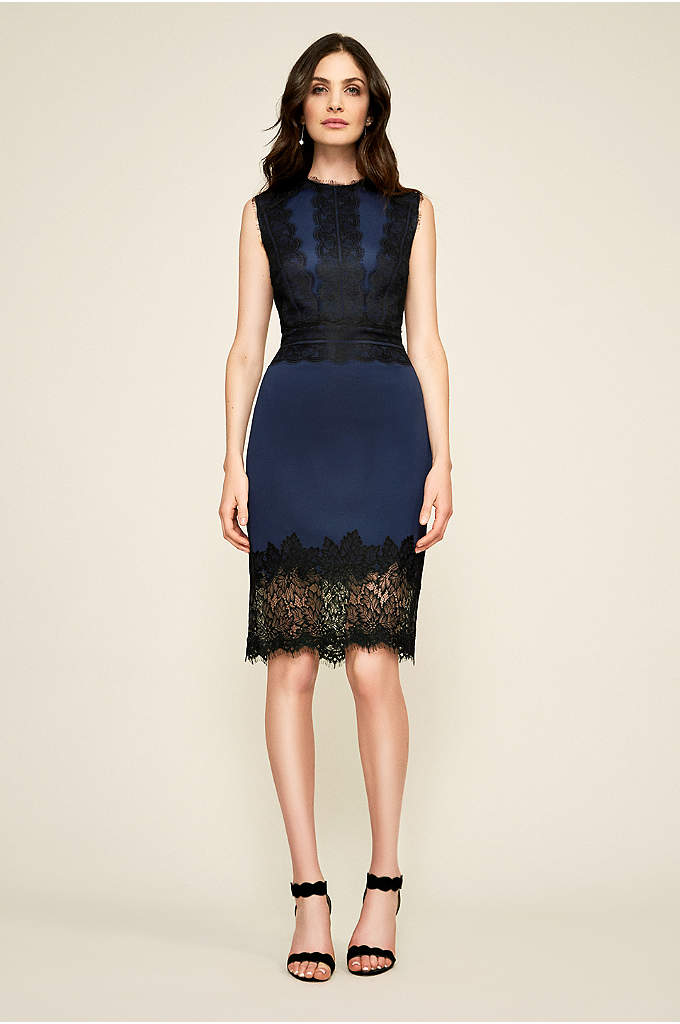Milo Dress - This lace-trimmed scuba sheath dress is both fitted
