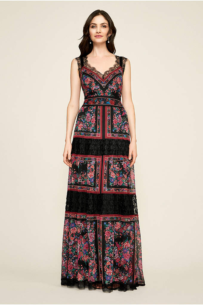 Maebry Crinkle Chiffon Gown - This floral-printed gown is full of bohemian details