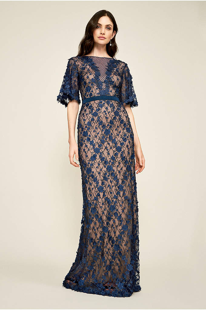 Leif Tulle Embroidery Gown - Allover embroidery and hand-stitched floral appliques create a