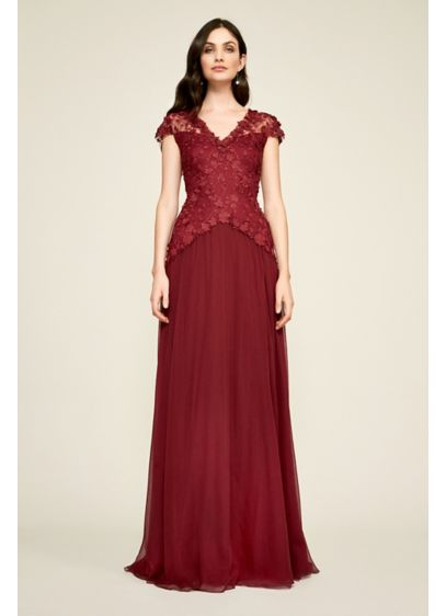 Long Ballgown Cap Sleeves Cocktail and Party Dress - Tadashi Shoji