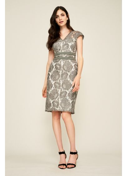 Short Sheath Cap Sleeves Cocktail and Party Dress - Tadashi Shoji