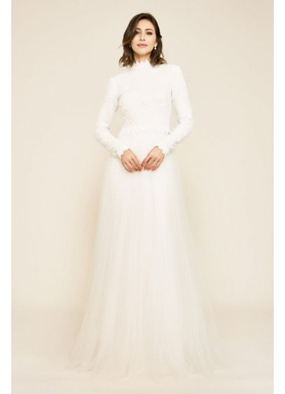 Emine Long Sleeve Embroidered Tulle Wedding Gown - With its embroidered bodice and gathered tulle skirt,