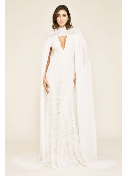 Caspian Lace Wedding Gown with Chiffon Cape - Heads will turn when you walk down the