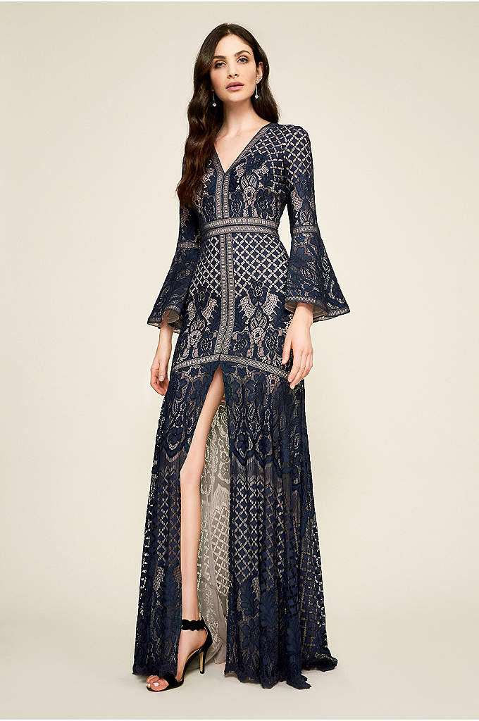 Delphine Lace Gown - Shape-defining ladder seams adorn the V-neck bodice of