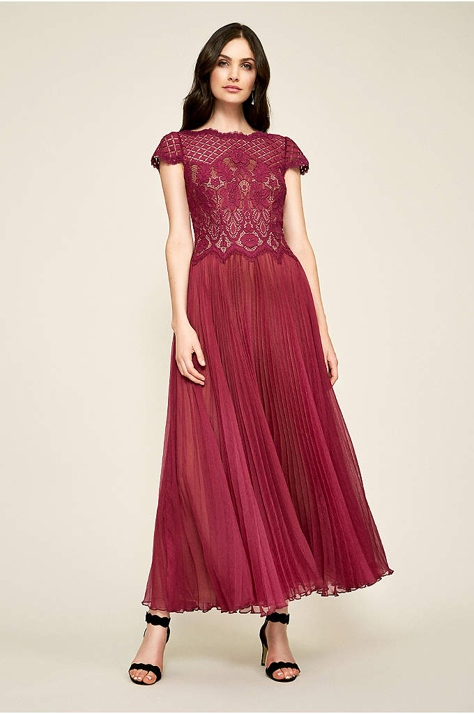Pleated Tea-Length Chiffon Dress with Lace Bodice - Full of textural detail, this tea-length dress features