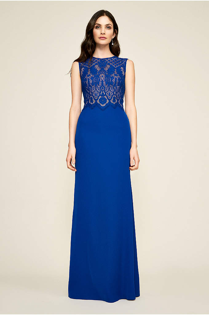 Evandale Lace Gown - A high-neck lace bodice and a body-skimming crepe