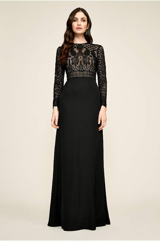 Oriana Long Sleeve Gown - A mixed-lace bodice with long scalloped sleeves tops