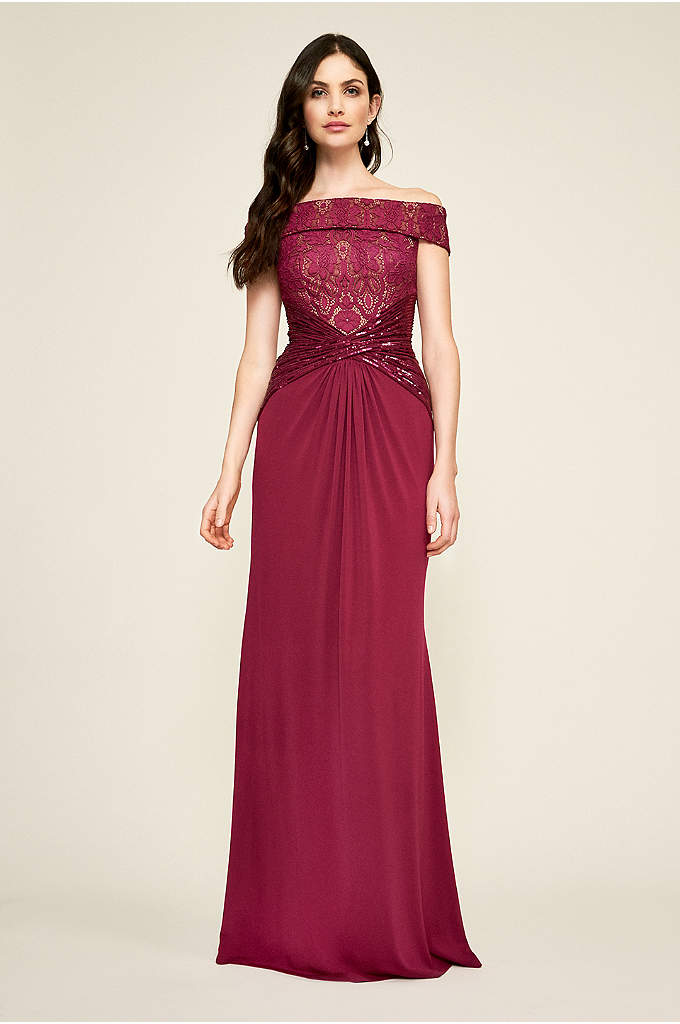 Lyric Off-The-Shoulder Gown - Featuring an off-shoulder lace bodice, a crisscross sequin