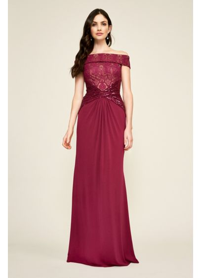 Long Mermaid/ Trumpet Off the Shoulder Cocktail and Party Dress - Tadashi Shoji