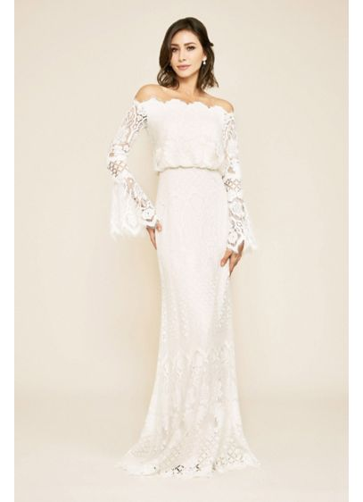 Izumi Off-the-Shoulder Bell Sleeve Wedding Gown - At once modern and romantic, this lace gown