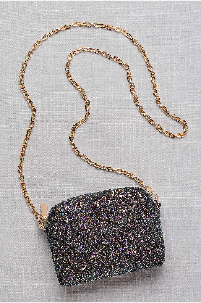 Iridescent Glitter Chain Strap Mini-Bag - Covered in chunky, iridescent glitter, this petite purse