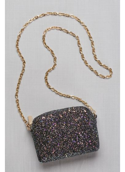 Iridescent Glitter Chain Strap Mini-Bag - Covered in chunky, iridescent glitter, this petite purse