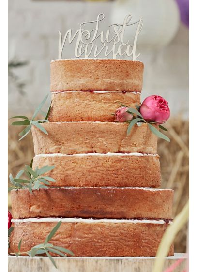 Just Married Script Wooden Cake Topper - Make your wedding cake even more special by