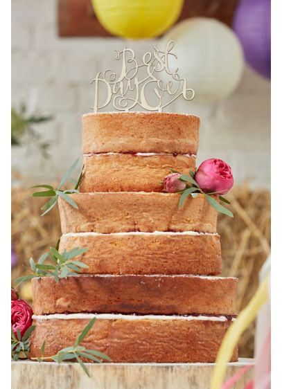 Wooden Best Day Ever Cake Topper - Wedding Gifts & Decorations