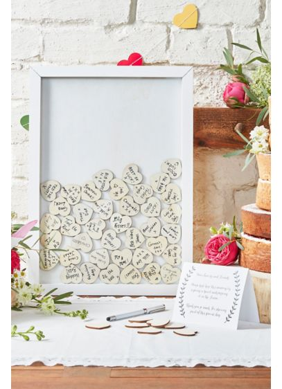 White (Drop Top Wooden Frame Guest Book Alternative)