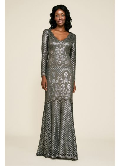 Archer Sequin Gown with Lattice Details - Light-catching sequins in baroque and geometrical lattice patterns