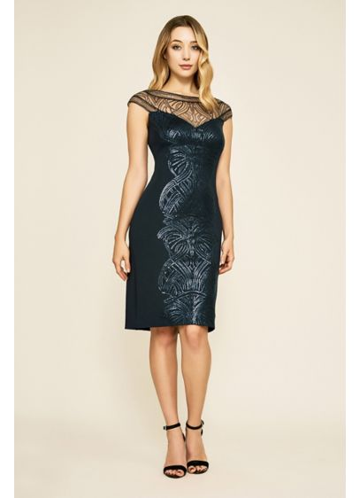 Gerst Short Sequin Embroidered Scoopneck Dress - Sequin embroidery lends stunning sparkle to this short