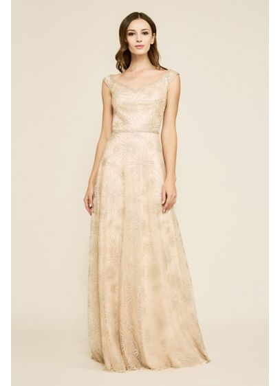 Ara Sunburst Embroidered Tulle Gown - Embroidered tonal sunbursts add beautiful detail to this