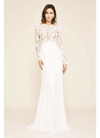 Long Sleeve Illusion Lace Sheath Wedding Dress - Ornate illusion lace and a sequin leaf pattern