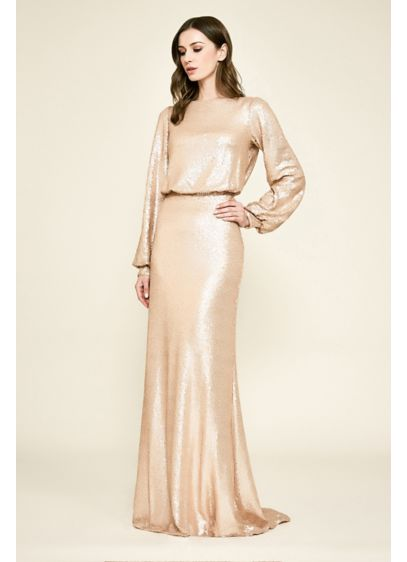Revin Long Poet Sleeve Sequin Blouson Gown - Adorned in sequins from bateau neckline to poet