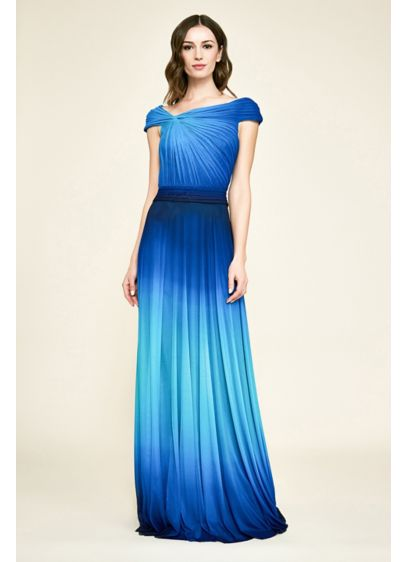 Pavo Ombre Draped Mesh and Jersey A-Line Gown - The beautiful ombre colors of this gathered mesh