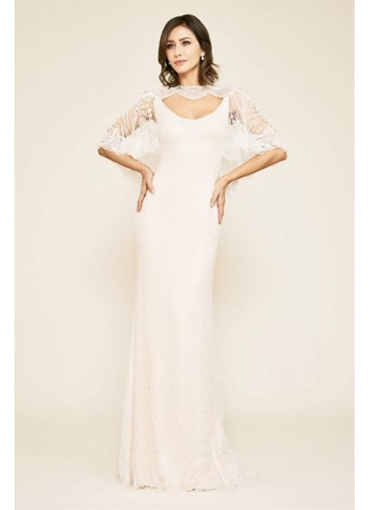 Elbow Sleeve Sheath Wedding Dress with Beading - It doesn't get any more exquisite than this