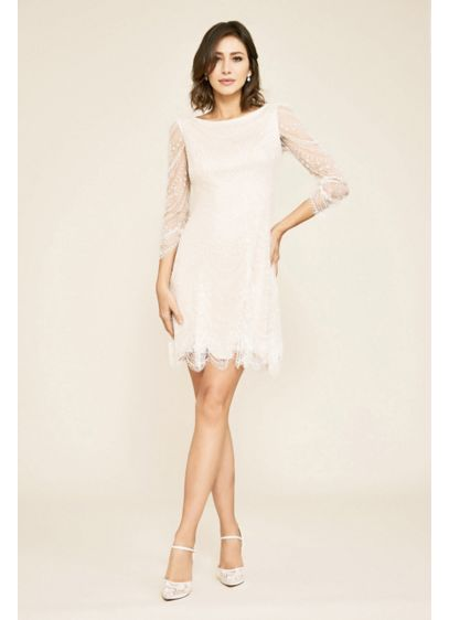 Short A-Line Boho Wedding Dress - Tadashi Shoji