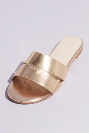 Madden Girl Grey;Pink;Yellow Flat Sandals (Metallic Double Strap Slide Girls Sandals)