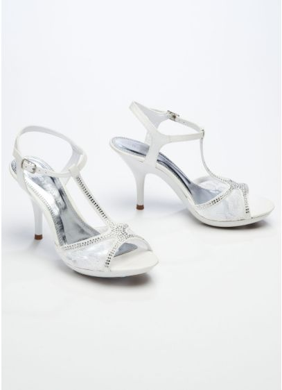 White (Lace Sandal with Rhinestone T-Strap)