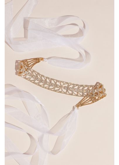 Rhinestone Leaf-Pattern Belt - Wedding Accessories