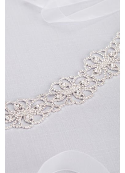 David's Bridal Grey (Intertwined Blooms Crystal Floral Sash)