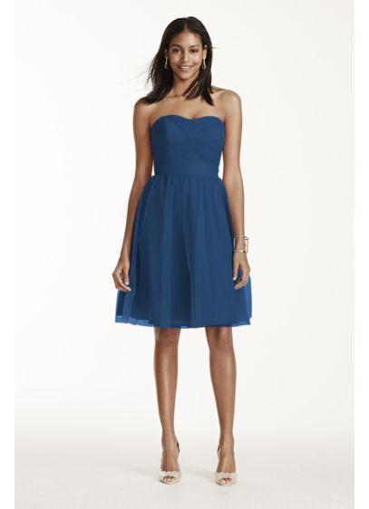 Short Blue David's Bridal Bridesmaid Dress