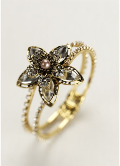 Multi Layered Stone Floral Hinge Bracelet - Wedding Accessories